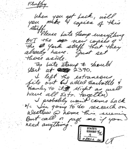 Sample of Lisa Tanner's Handwriting in notes for Rodney Reed case